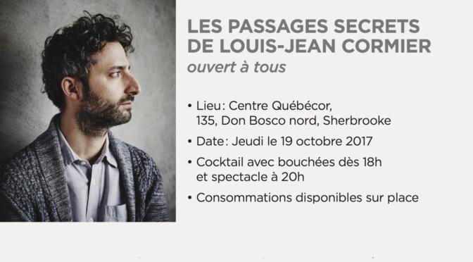 Spectacle Bénéfice de l'école du Sacré-Coeur avec Louis-Jean Cormier le 19 octobre 2017